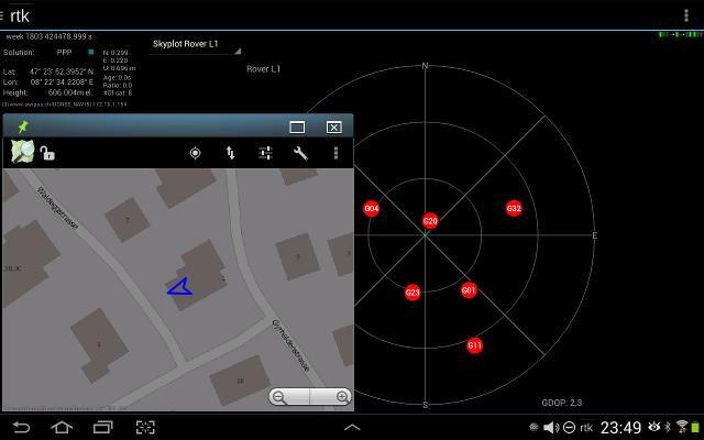 Vespucci receiving GPS data from RTKLIB